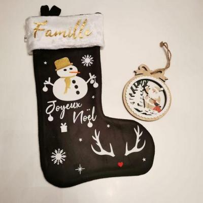 Chaussette de Noël Noir - prénom + bonhomme de neige + tête de cerf et joyeux noël