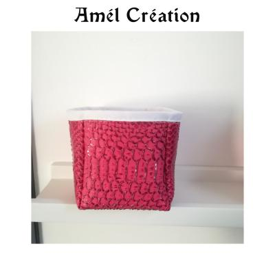 Petit panier cuir rose croco