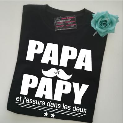 Tee shirt MC homme -  papa et papy (ou autre) assure...