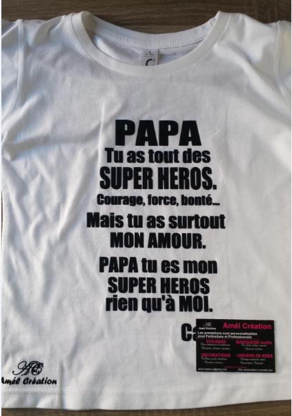 Papa super heros blanc enfant noir