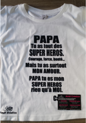 Tee shirt enfant MC - Papa -Super héros