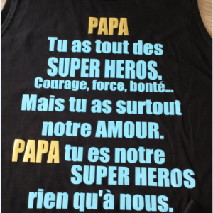 Papa tu as tout des super heros noir or et bleu