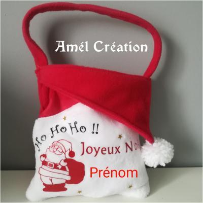 Petit sac de Noël - prénom + pere noël