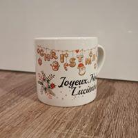 Petite tasse NOEL - guirlande joyeux noel et prénom