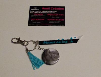 Porte clé photo avec ruban à personnaliser