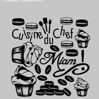 Stickers planche déco cuisine du chef et macaron