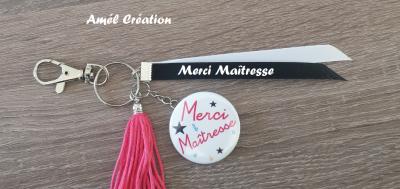 Porte clé Merci Maîtresse avec ruban à personnaliser