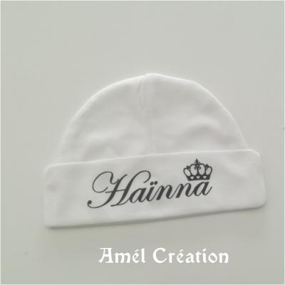 Bonnet prénom et couronne - FAIT MAIN - couleur au choix