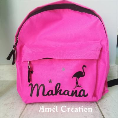 Mini sac à dos - modèle prénom et flamant rose