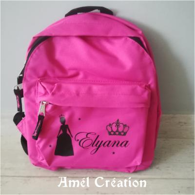 Mini sac à dos - modèle princesse couronne prénom étoiles