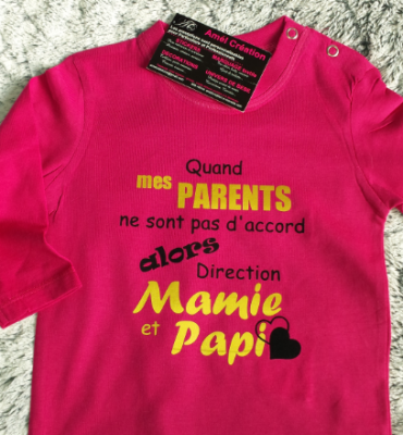 Tee shirt ML - Quand mes parents ne sont pas d'accord alors direction mamie et papi