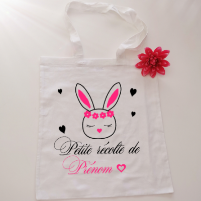 Sac 100% coton -MODELE lapin coeur