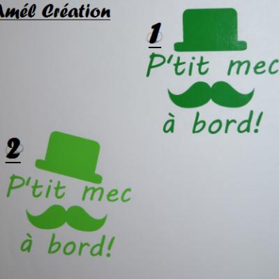 Stickers bébé à bord - Chapeau et moustache