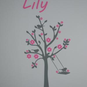 Sticker arbre prenom et fleurs