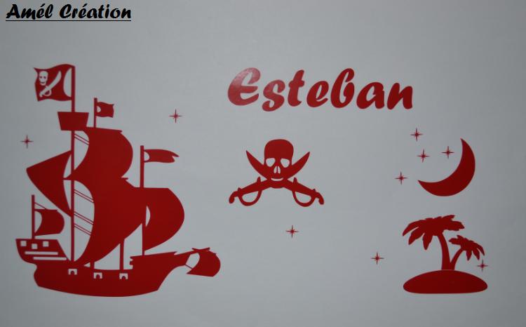 Sticker bateau de pirate prenom et deco