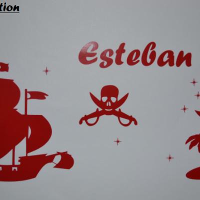 Stickers bateau de pirate + prénom + déco