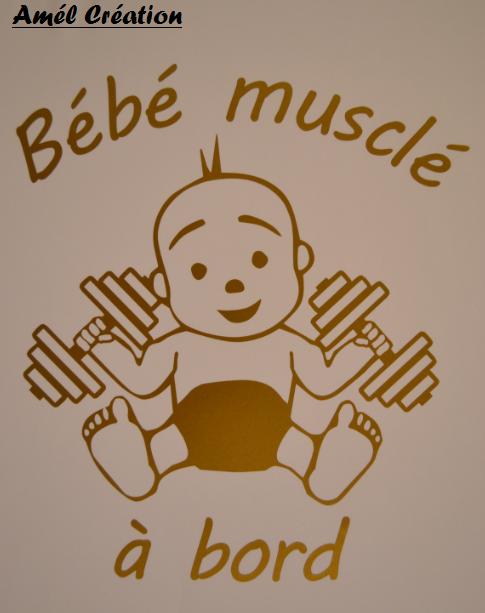 Sticker bebe a bord bebe muscle 1