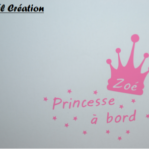 Sticker bebe a bord princesse 1