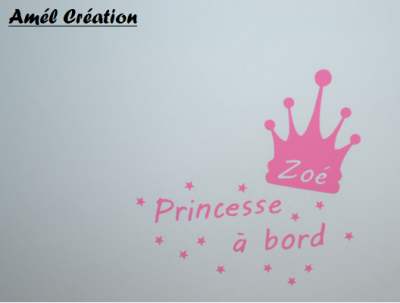 Stickers bébé à bord - princesse et couronne