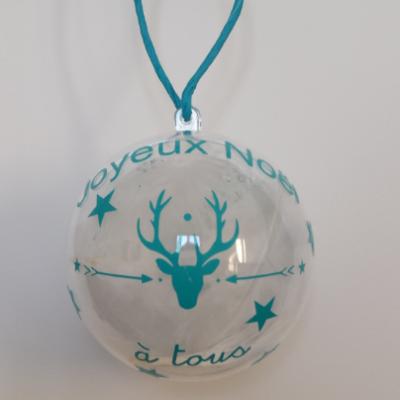 Stickers renne + joyeux noel à tous + prénom + étoiles + flocons