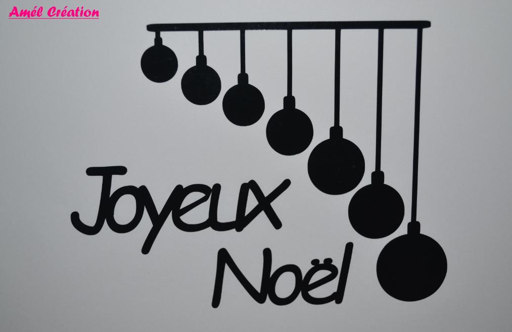 Sticker joyeux noel boules et texte