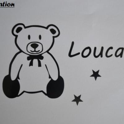 stickers prénom ours