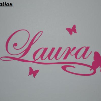 Stickers papillon et prénom