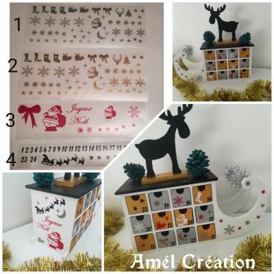 Lot de 4 Stickers pour Calendrier de Noël