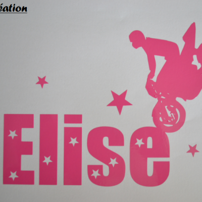 Stickers moto et prénom étoiles