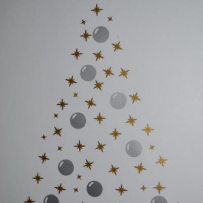 Stickers sapin étoiles et boules - 2 couleurs