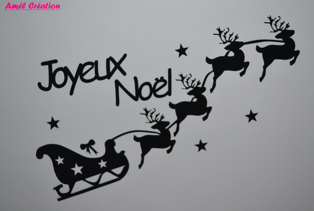 Sticker traineau joyeix noel