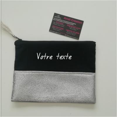 Pochette strass ARGENT et coton NOIR -  à personnaliser