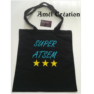 Sac 100% coton - super ATSEM et étoiles