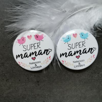 Badge super maman + prénom