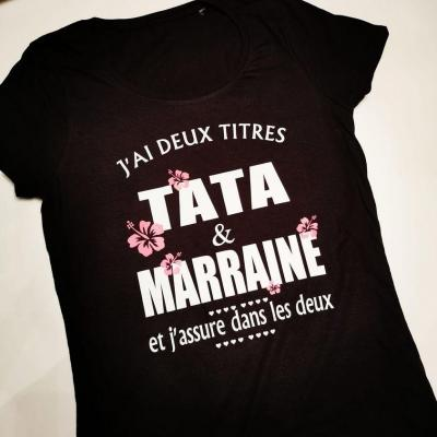 Tee shirt MC femme - Deux titres tata et marraine