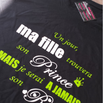 Tee shirt MC homme - un jour ma fille trouvera son prince mais je serai à jamais son roi